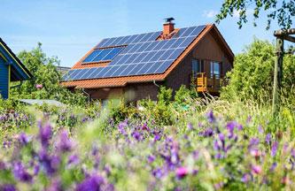 Visuel maison panneaux solaires, verdure