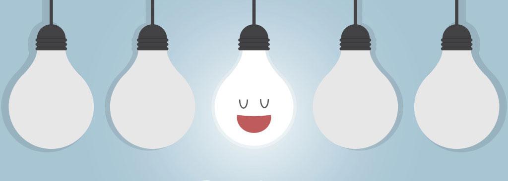 visuel cinq ampoules une éclairée