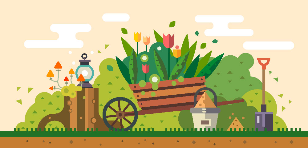 visuel fleurs, jardin, outils, rateau