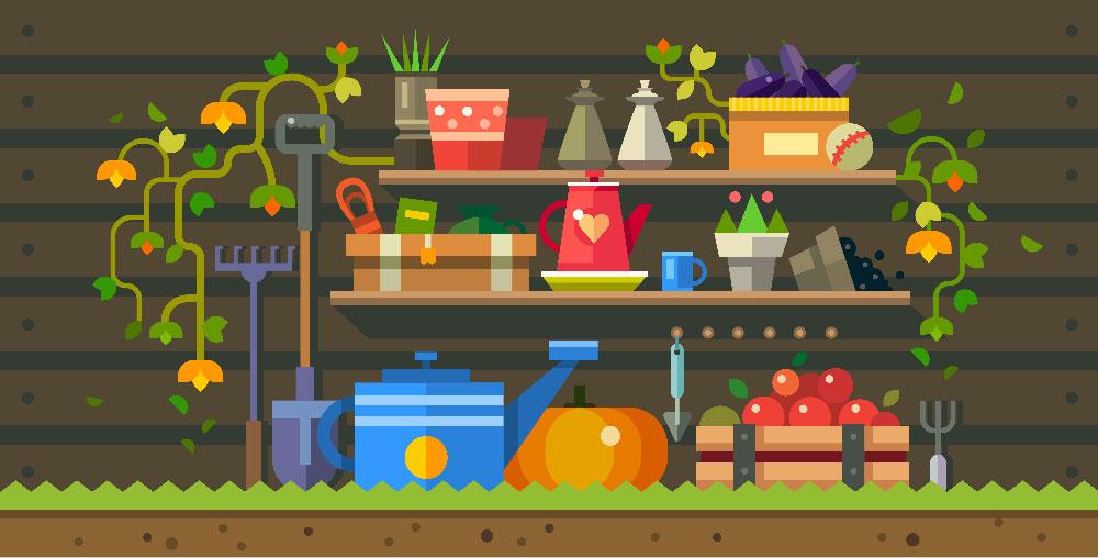 visuel potagers, légumes, outils, pelle, rateau, arosoir, cultiver