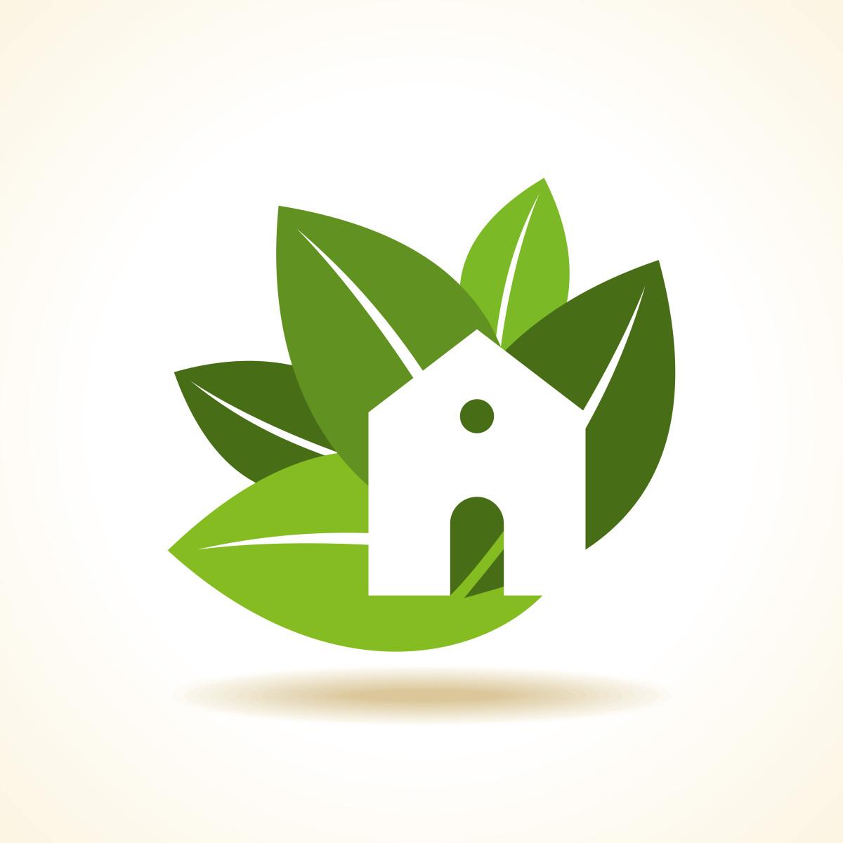visuel maison écologique, feuille verte