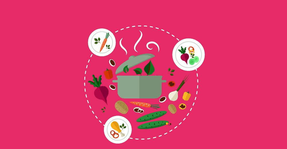 visuel, intérieur du cercle marmite légumes, préparation plats, fond rose